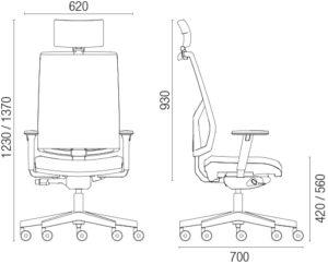 Skica radne stolice sa dimenzijama.
