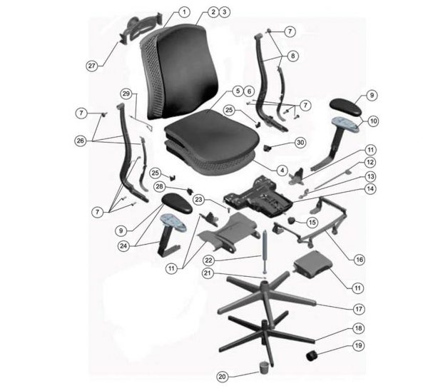 Delovi kancelarijske stolice