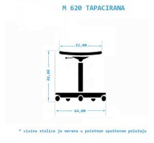 Industrijska radna stolica M620-TAPACIRANA niska