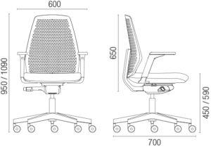 Crtez radne stolice sa dimenzijama.