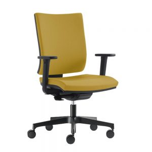 Modrulj radna stolica u žutoj boji.