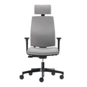 Radna stolica sa tapaciranim naslonom i PVC tockicima.