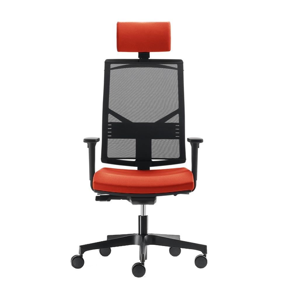 Radna stolica sa naslonom za glavu u narandzastoj boji.